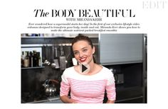 MIRANDA KERR'S BREAKFAST SMOOTHIE: 1 glass cold pressed coconut milk, 1 glass coconut water, 1 tbs acai powder, 1 tbs goji berries, 1 tbs spirulina, 1 tbs raw cacao powder, 1 tbs maca powder, 1 tbs chia seeds, 1 1/2 tbs vegan rice protein powder (when traveling put everything into zip lock bag and buy the coconut milk & water locally)