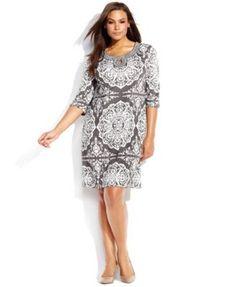 INC International Concepts Plus Size Three-Quarter-Sleeve Printed Dress   macys.com