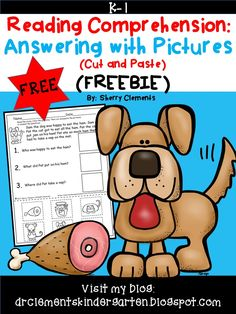 FREEBIE! Reading Comprehension Answering with Pictures (Cut and Paste) kindergarten - first grade