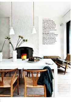 Wegner wishbone chair wtih white rectangular table
