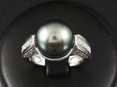 Bel Brillante Anello Con Tahiti perla circa 1,30ct 11,0g 750/- Oro Bianco