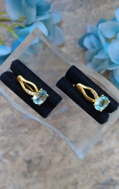 Materials: 925 sterling silver, cubic zirconia, natural topaz Size: Earring size 16 mm ##handmade Cubic Zirconia Earrings, Topaz Earrings, Sterling Silver Earrings, Small Earrings, Size 16, Natural, Handmade, Free, Products