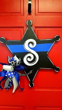 Sheriff Badge Door Hanger Black Sheriff by DesignsAshleyNichole Wooden Door Hangers, Wooden Doors, Sheriff Badge, Classic Doors, Wooden Cutouts, Outdoor Paint, Black Doors, Front Door Decor, Wooden Crafts