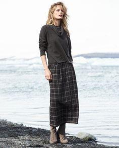 Image of Wool check skirt