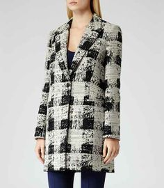 Soul Check Black/white Straight Cut Coat - REISS