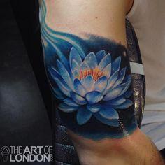 Blue Lotus Flower Tattoo by London Reese : Tattoos
