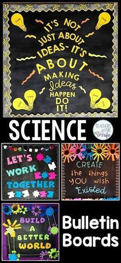 Science and STEM Bulletin Boards! Templates for four boards with great ideas for elementary science or STEM displays and projects for classroom teachers. Images are included to customize your boards by printing letters and designing your own displays. Elementary Bulletin Boards, Science Bulletin Boards, Teacher Bulletin Boards, Science Boards, Elementary Art Rooms, Elementary Science Classroom, Bulletin Board Design, Preschool Teachers, Bulletin Board Display