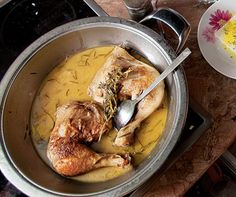 Rosemary Chicken (Kotopoulo me Dendrolivano) - Thessaloniki chef Aglaia Patronaki showed us how to make this delicious, herb-strewn, skillet-braised chicken dish.