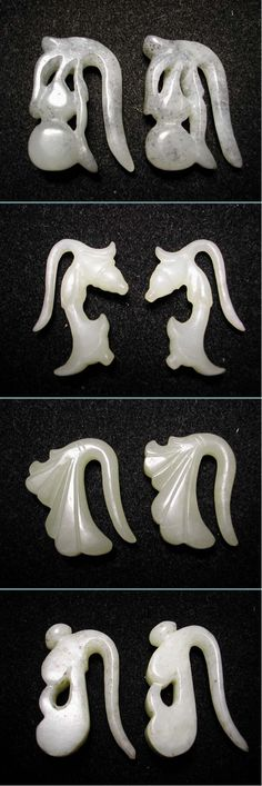 Four pairs of Jade earrings, floral and fruit design. 12th-14th century, China. Private collection