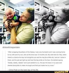 Oh my freakin gosh I love this!!! They're both so cute!!! Chris Pratt is gonna be an awesome dad