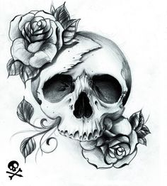 Black And White Skull And Rose