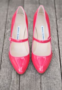 bubble gum pink patent leather Manolo Blahnik mary janes