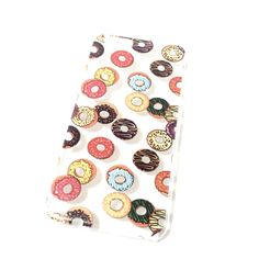 Hard plastic clear iPhone case with kawaii donut print! Free shipping!
