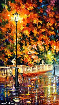 Landscape Gardeners Are Like Outside Decorators! Lonely Bicycle - Palette Knife Oil Painting On Canvas By Leonid Afremov Knife Painting, Oil Painting On Canvas, Painting Abstract, Painting Art, Canvas Art, Painting Flowers, Painting Videos, Abstract Canvas, Painting Techniques