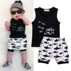 3.6$  Watch now - Cartoon Shark Printing Baby Clothes Set 2016 New Arrival Fashion Hot Sale Sleeveless T-shirt And High Waist Shorts Summer Wear   #buychinaproducts