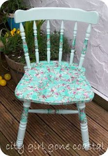 decoupage chair!  I need to do this project with my mom!  She use to decoupage everything!
