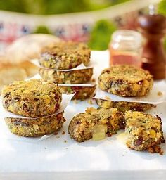 Melt-in-the-Middle Vegetarian Bean Burgers: Delicious patties made from chickpeas, kidney beans, butternut squash and mushrooms, with a creamy French brie filling.