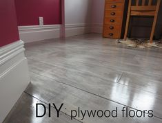 diy plywood plank floors with graywash finish