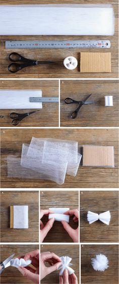 como fazer pompom de tule