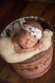 Sweet newborn girl in rustic bucket <3