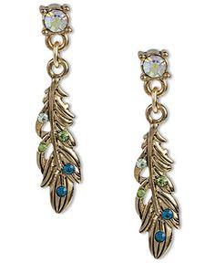 Betsey Johnson Earrings, Gold Tone Feather Drop Earrings - Macy's