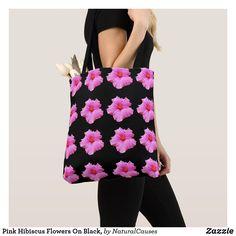 Pink #hibiscus Flowers On Black, #totebag  Bag