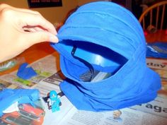 Our finished hood for our Ninjago Jay costume.