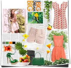 """Oranges and greens"" by pauline-eskett on Polyvore"