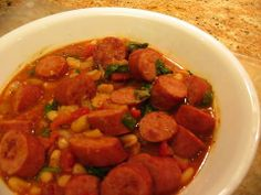 Kielbasa With Tomatoes and White Beans. Photo by Kat's Mom