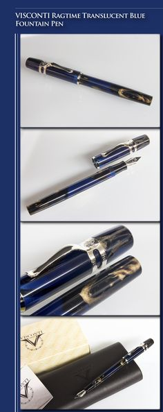 VISCONTI Ragtime Translucent Blue Fountain Pen (translucent resin body and cap, silver plated trim, steel nib) - 2010s / Italy