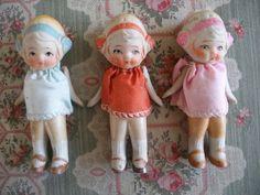 3 LITTLE ORIGINAL VINTAGE 1920s BISQUE FLAPPER DOLLS ~for sale on ebay