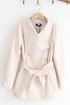 Retro Style Standing Collar Belted Tweed Coat OASAP.com