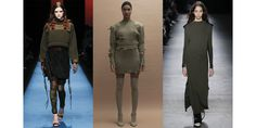 Cozy jumpers at Dsquared², distressed knits at Yeezy and ultra-long dresses at Rag & Bone, khaki knits have been runway regulars this Fashion Week, signaling the return of military chic for Fall/Winter 2016-2017.