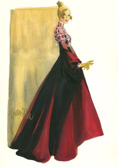 William Travilla - Costumes - Esquisses et Croquis - Robe de Soirée - Couture