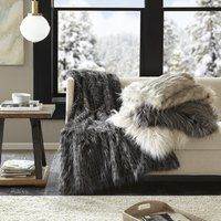 Shop De Moocci Mongolian Soft Shaggy Faux Fur Throw - 50 in x 60 in - On Sale - Free Shipping Today - Overstock - 18826007 Grey Fur Throw, Faux Fur Throw, Cooling Blanket, Cozy Fashion, Bedroom Vintage, Trendy Bedroom, Master Bedroom, Bedroom Brown, Bedroom Decor