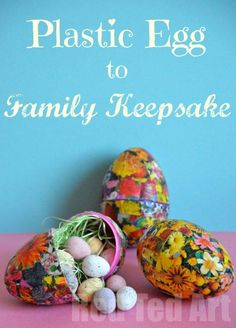What do to with all those Plastic Eggs?! Make some pretty little decoupage eggs to fill at Easter.