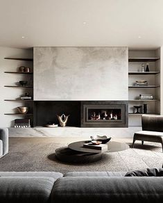Living room fireplace design lux and beautiful Big Living Rooms, Living Room Interior, Home Living Room, Home Interior Design, Interior Architecture, Living Room Designs, Living Room Decor, Living Spaces, Contemporary Fireplace Designs