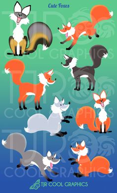 Cute Foxes Digital Clip Art by CleverVectors on Etsy, $3.95
