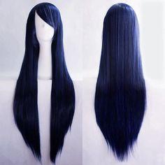"New Fashion Women's Dark Blue Long Straight Cosplay Party Full Wig 80cm/32"" #Unbranded #FullWig"
