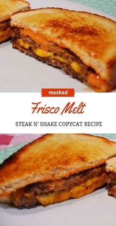 to make a perfect Steak 'n Shake Frisco Melt Make your own Steak N' Shake Frisco melt with this perfect copycat recipe.Make your own Steak N' Shake Frisco melt with this perfect copycat recipe. Hamburger Recipes, Ground Beef Recipes, Sandwiches, Patty Melt Recipe, Frisco Melt Sauce Recipe, Shake, Restaurant Recipes, Dinner Recipes, Grilling Recipes
