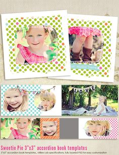Sweetie Pie 3x3 Accordion book templates for por 7thavenuedesigns