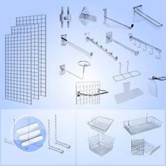 GRID WALL GRIDWALL MESH CHROME RETAIL SHOP DISPLAY PANEL ACCESSORY HOOK ARM ARMS | eBay