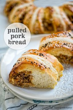 If you have never made Japanese Milk Bread using the tangzhong (water roux) method then you are in for a real treat! Japanese milk bread filled with pulled pork Quiches, Pork Recipes, Cooking Recipes, Recipies, Japanese Milk Bread, Muffins, Great British Bake Off, Food Staples, Dairy Free Recipes
