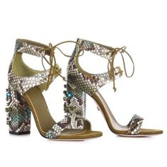 LE SILLA Laced Sandal In Camouflage Colour In Dibujo Python And Stones H.110 Mm. #lesilla #shoes #sandals