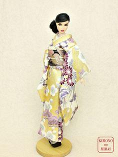 Free shipping! KIMONOnoMIRAI Gold Furisode dress,doll Fashion Royalty,FR12 #KIMONOnoMIRAI