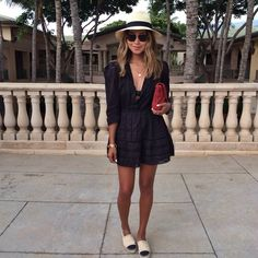 short or mini black tank dress+ chanel espadrilles