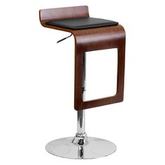 Flash Furniture Bentwood Backless Adjustable Vinyl Seat Bar Stool Walnut - SD-2075-1-WAL-GG