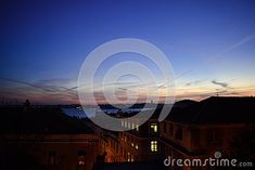 Photo about Clear sky sunset in Lisbon seen from the rooftop of a building. Image of lights, view, night - 111796964 Clear Sky, Lisbon Portugal, Rooftop, Europe, Celestial, Lights, Stock Photos, Sunset, Building