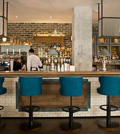 bar seating, beautiful palette {the riding house cafe, london}