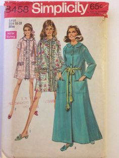 Vintage 1969 Simplicity 8458 Pattern Women's Short & Long Robes Size Large 16-18 #Simplicity #Robe